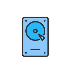 Hard drive disk hdd flat color line icon vector