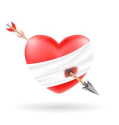 heart shooted a bow arrow vector image