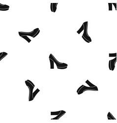 high heel shoes pattern seamless black vector image