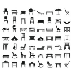 Home garden furniture icons set simple style vector