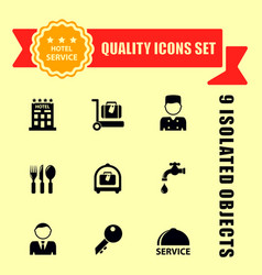 Hotel and travel icons with red tape vector