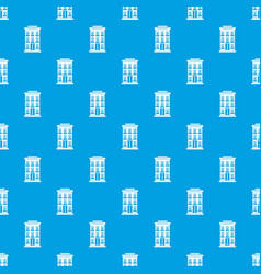 Hotel building pattern seamless blue vector
