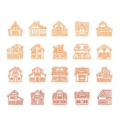 House simple color line icon exterior set vector