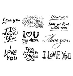 i love you text hand drawn lettering collection vector image