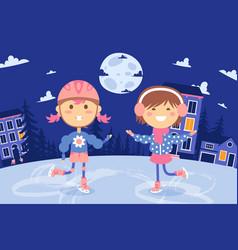 ice skating children happy girls outdoor fun vector image