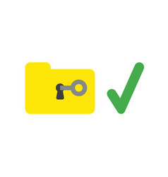 icon concept of key unlock file folder with check vector image