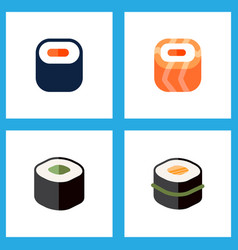Icon flat maki set gourmet japanese food vector