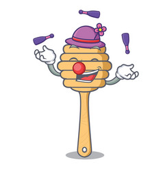 juggling honey spoon mascot cartoon vector image
