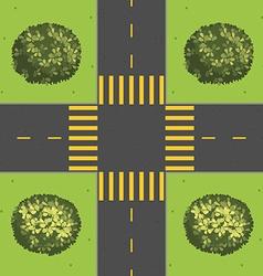 Junction with corner plants vector
