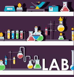 laboratory glassware on shelves vector image