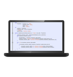 Laptop with program code on screen vector