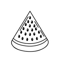 Line delicios slice watermelon fruit food vector