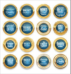 luxury sale gold and blue labels collection vector image