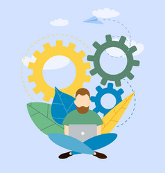 man working with a laptop vector image