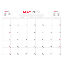 May 2019 calendar planner stationery design vector