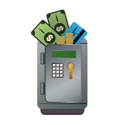 metal strong box with bills coins and credit card vector image