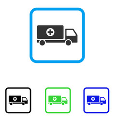Mobile hospital automobile framed icon vector