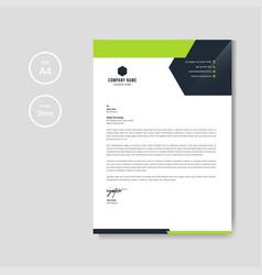 modern green business letterhead layout vector image