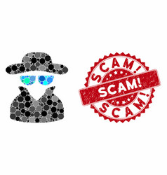 Mosaic spy with distress scam exclamation stamp vector