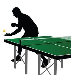 ping pong player silhouette three vector image