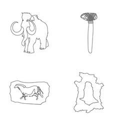 Primitive mammoth weapons hammer stone age set vector
