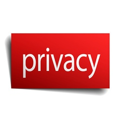 Privacy red paper sign on white background vector