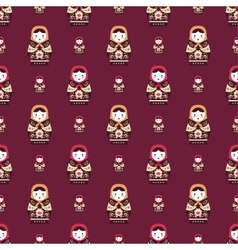 Russian doll matreshka seamless pattern vector