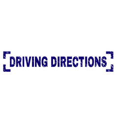 Scratched textured driving directions stamp seal vector
