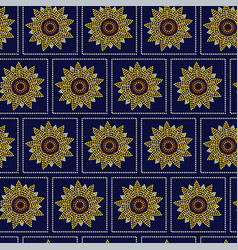 Seamless pattern graphic sunflower in dots vector