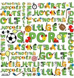 Seamless sport pattern words vector