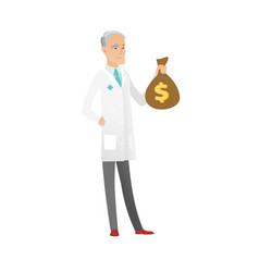 senior caucasian doctor holding a money bag vector image