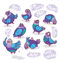 set of cartoon pigeons design for stickers pins vector image