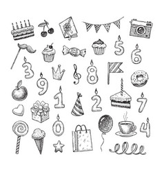 Set of hand drawn birthday objects vector