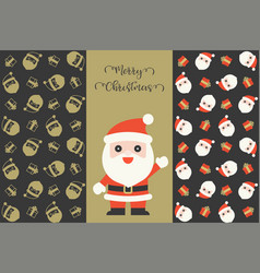 set of santa claus and gift boxes seamless pattern vector image