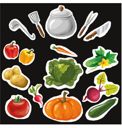 set of stickers with colorful hand drawn vector image