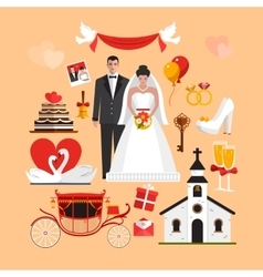 set wedding ceremony isolated objects vector image