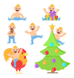 set with cartoon happy baby boy vector image