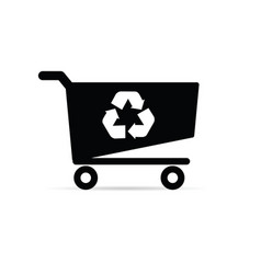 shopping basket with recycle icon on it vector image