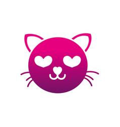 silhouette enamored cat head cute animal vector image