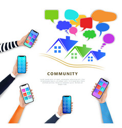 smart home network community concept mobile app vector image