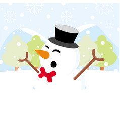 Snowman on snow with snowy hills forests vector