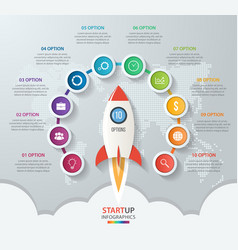 startup circle infographics with rocket 10 options vector image