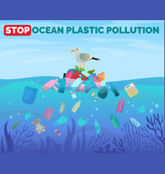 stop ocean plastic pollution poster with pile of vector image