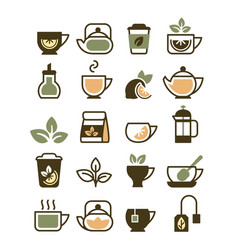 tea cups icons symbols hot drinks green vector image