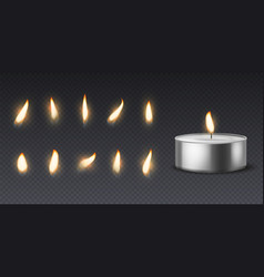 Tea wax candle with flame realistic burning vector