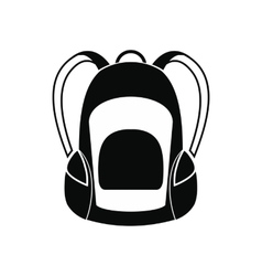 Touristic backpack black simple icon vector image