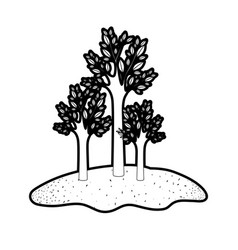 Trees set in grassland in black silhouette vector