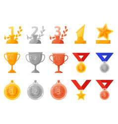 trophy medals and cups gold silver bronze vector image