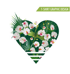 Tropical palm leaves and orchid flowers heart vector