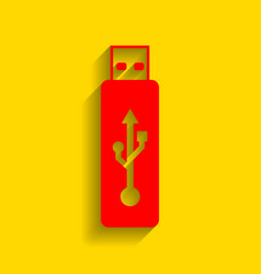 usb flash drive sign red icon with vector image